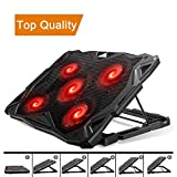Pccooler Laptop Cooling Pad, Laptop Cooler with 5 Quiet Red...